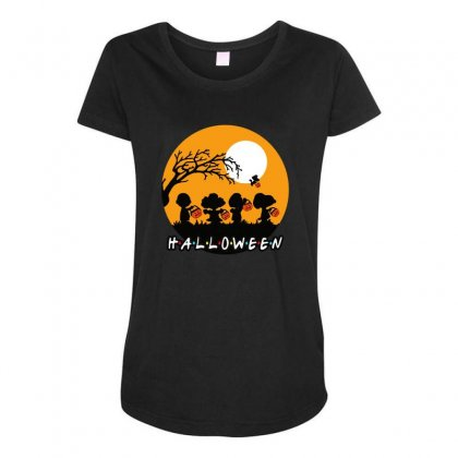 Halloween Moon Snoopy Hold Pumpkin With Woodstock Maternity Scoop Neck T-shirt Designed By Pinkanzee
