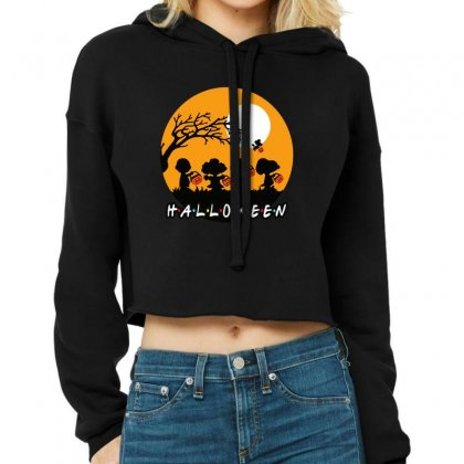 Halloween Moon Snoopy Hold Pumpkin With Woodstock Cropped Hoodie Designed By Pinkanzee