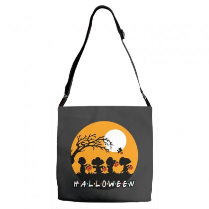 Halloween Moon Snoopy Hold Pumpkin With Woodstock Adjustable Strap Totes Designed By Pinkanzee