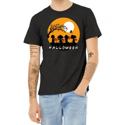 Halloween Moon Snoopy Hold Pumpkin With Woodstock Heather T-shirt Designed By Pinkanzee