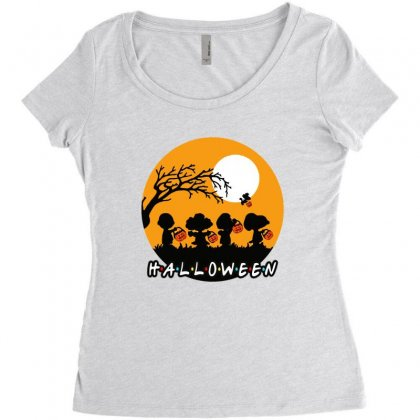 Halloween Moon Snoopy Hold Pumpkin With Woodstock Women's Triblend Scoop T-shirt Designed By Pinkanzee