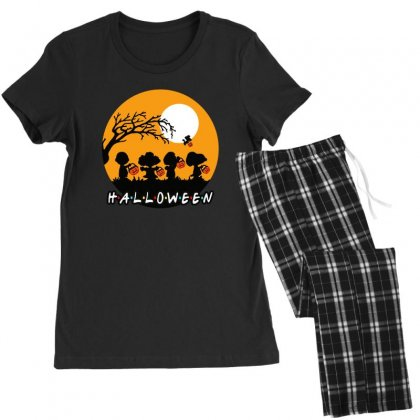 Halloween Moon Snoopy Hold Pumpkin With Woodstock Women's Pajamas Set Designed By Pinkanzee