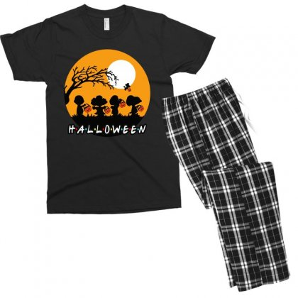 Halloween Moon Snoopy Hold Pumpkin With Woodstock Men's T-shirt Pajama Set Designed By Pinkanzee