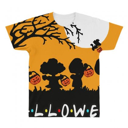 Halloween Moon Snoopy Hold Pumpkin With Woodstock All Over Men's T-shirt Designed By Pinkanzee