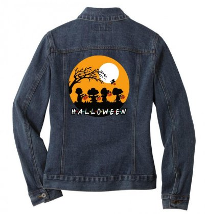 Halloween Moon Snoopy Hold Pumpkin With Woodstock Ladies Denim Jacket Designed By Pinkanzee