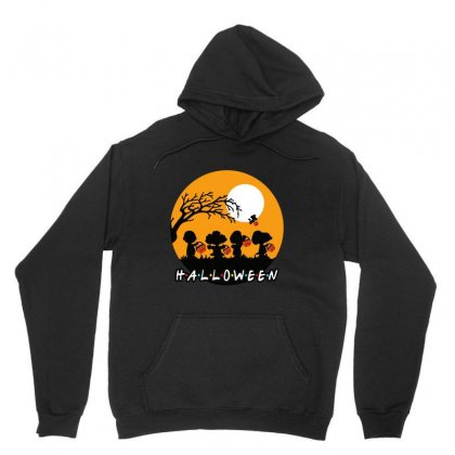Halloween Moon Snoopy Hold Pumpkin With Woodstock Unisex Hoodie Designed By Pinkanzee