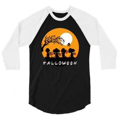 Halloween Moon Snoopy Hold Pumpkin With Woodstock 3/4 Sleeve Shirt Designed By Pinkanzee