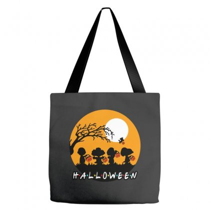Halloween Moon Snoopy Hold Pumpkin With Woodstock Tote Bags Designed By Pinkanzee