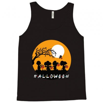Halloween Moon Snoopy Hold Pumpkin With Woodstock Tank Top Designed By Pinkanzee