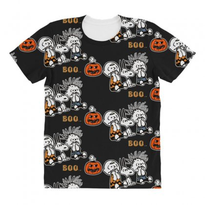 Halloween Kids Boo Snoopy Charlie Brown And Linus Van Pelt Frightened All Over Women's T-shirt Designed By Pinkanzee