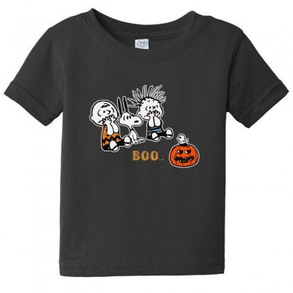 Halloween Kids Boo Snoopy Charlie Brown And Linus Van Pelt Frightened Baby Tee Designed By Pinkanzee