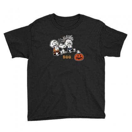 Halloween Kids Boo Snoopy Charlie Brown And Linus Van Pelt Frightened Youth Tee Designed By Pinkanzee
