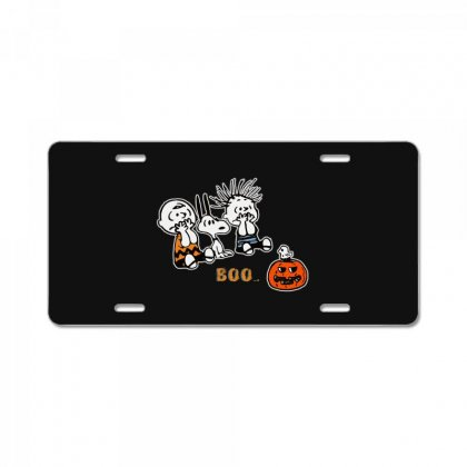 Halloween Kids Boo Snoopy Charlie Brown And Linus Van Pelt Frightened License Plate Designed By Pinkanzee