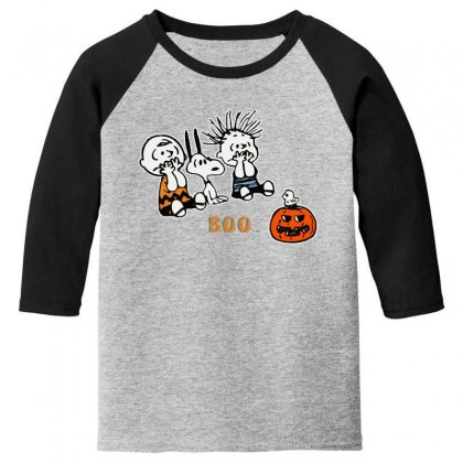 Halloween Kids Boo Snoopy Charlie Brown And Linus Van Pelt Frightened Youth 3/4 Sleeve Designed By Pinkanzee