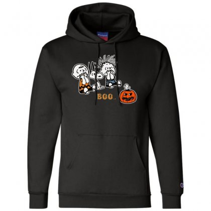 Halloween Kids Boo Snoopy Charlie Brown And Linus Van Pelt Frightened Champion Hoodie Designed By Pinkanzee