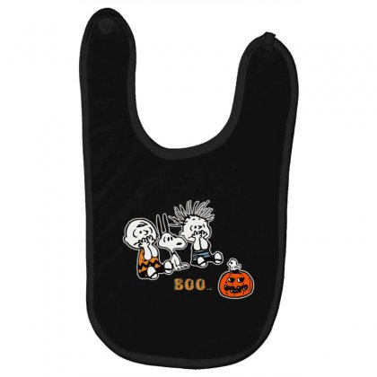 Halloween Kids Boo Snoopy Charlie Brown And Linus Van Pelt Frightened Baby Bibs Designed By Pinkanzee
