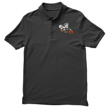 Halloween Kids Boo Snoopy Charlie Brown And Linus Van Pelt Frightened Men's Polo Shirt Designed By Pinkanzee