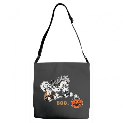 Halloween Kids Boo Snoopy Charlie Brown And Linus Van Pelt Frightened Adjustable Strap Totes Designed By Pinkanzee