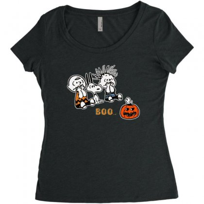 Halloween Kids Boo Snoopy Charlie Brown And Linus Van Pelt Frightened Women's Triblend Scoop T-shirt Designed By Pinkanzee