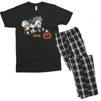 Halloween Kids Boo Snoopy Charlie Brown And Linus Van Pelt Frightened Men's T-shirt Pajama Set Designed By Pinkanzee