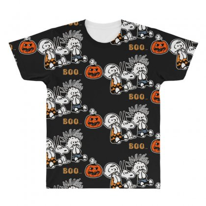 Halloween Kids Boo Snoopy Charlie Brown And Linus Van Pelt Frightened All Over Men's T-shirt Designed By Pinkanzee