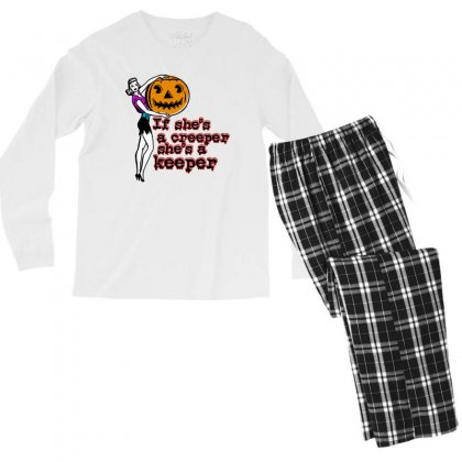 Halloween If Shes A Creeper Shes A Keeper Men's Long Sleeve Pajama Set Designed By Pinkanzee