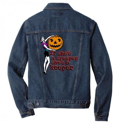 Halloween If Shes A Creeper Shes A Keeper Men Denim Jacket Designed By Pinkanzee