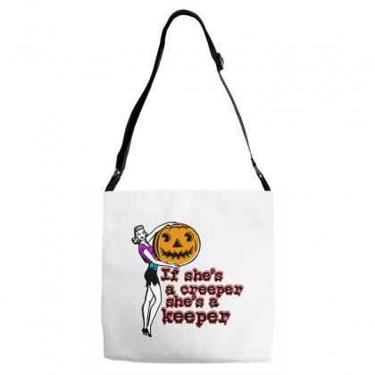 Halloween If Shes A Creeper Shes A Keeper Adjustable Strap Totes Designed By Pinkanzee