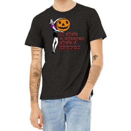 Halloween If Shes A Creeper Shes A Keeper Heather T-shirt Designed By Pinkanzee