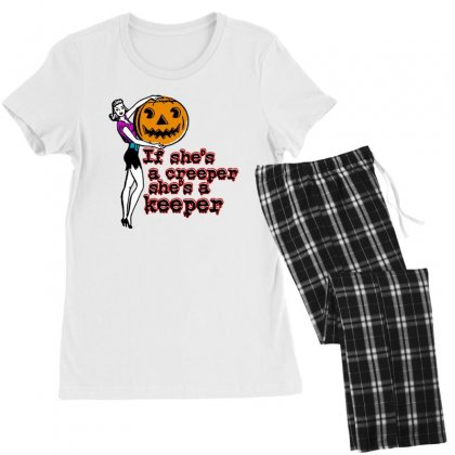 Halloween If Shes A Creeper Shes A Keeper Women's Pajamas Set Designed By Pinkanzee