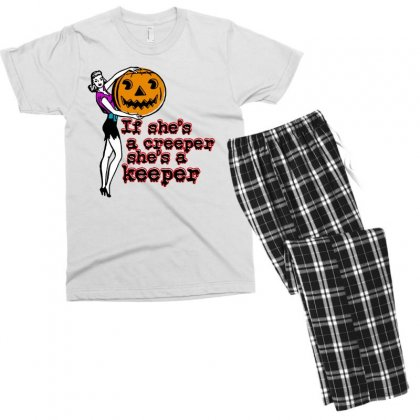 Halloween If Shes A Creeper Shes A Keeper Men's T-shirt Pajama Set Designed By Pinkanzee