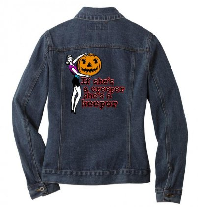 Halloween If Shes A Creeper Shes A Keeper Ladies Denim Jacket Designed By Pinkanzee