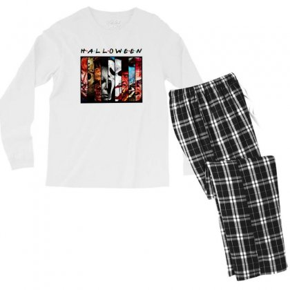 Halloween Horror Charaters Friends For Light Men's Long Sleeve Pajama Set Designed By Pinkanzee