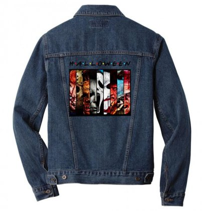 Halloween Horror Charaters Friends For Light Men Denim Jacket Designed By Pinkanzee
