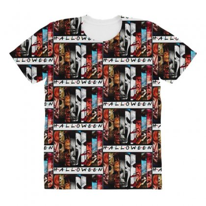 Halloween Horror Charaters Friends For Light All Over Women's T-shirt Designed By Pinkanzee