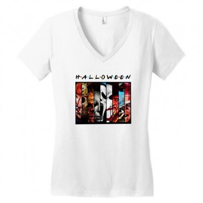 Halloween Horror Charaters Friends For Light Women's V-neck T-shirt Designed By Pinkanzee
