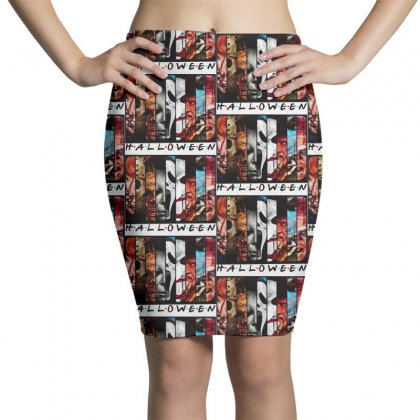 Halloween Horror Charaters Friends For Light Pencil Skirts Designed By Pinkanzee