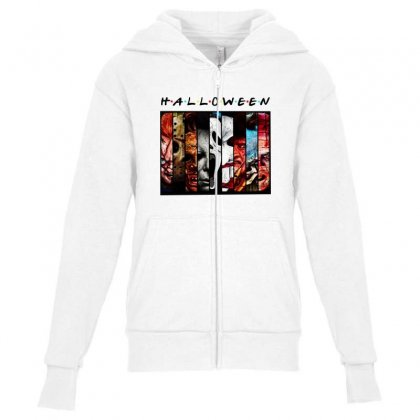 Halloween Horror Charaters Friends For Light Youth Zipper Hoodie Designed By Pinkanzee
