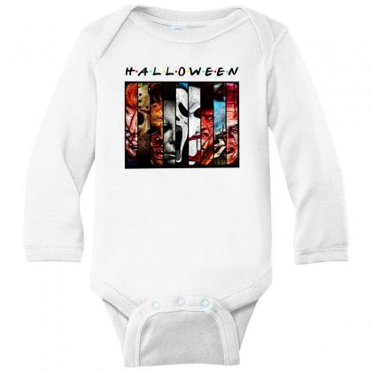 Halloween Horror Charaters Friends For Light Long Sleeve Baby Bodysuit Designed By Pinkanzee