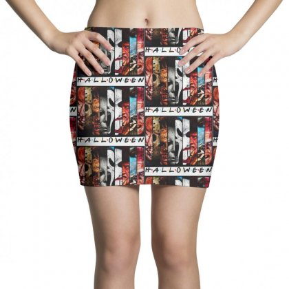 Halloween Horror Charaters Friends For Light Mini Skirts Designed By Pinkanzee