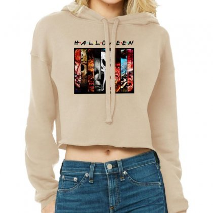 Halloween Horror Charaters Friends For Light Cropped Hoodie Designed By Pinkanzee