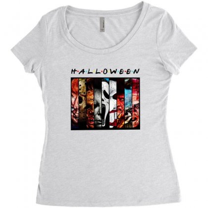 Halloween Horror Charaters Friends For Light Women's Triblend Scoop T-shirt Designed By Pinkanzee