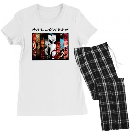 Halloween Horror Charaters Friends For Light Women's Pajamas Set Designed By Pinkanzee