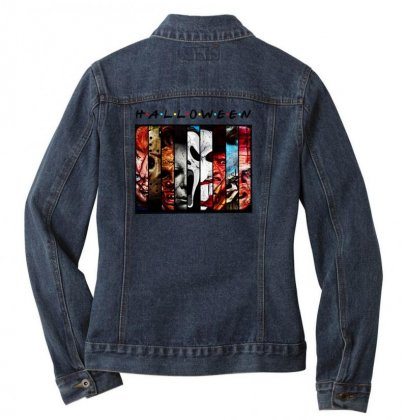Halloween Horror Charaters Friends For Light Ladies Denim Jacket Designed By Pinkanzee