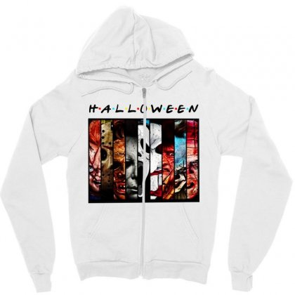 Halloween Horror Charaters Friends For Light Zipper Hoodie Designed By Pinkanzee