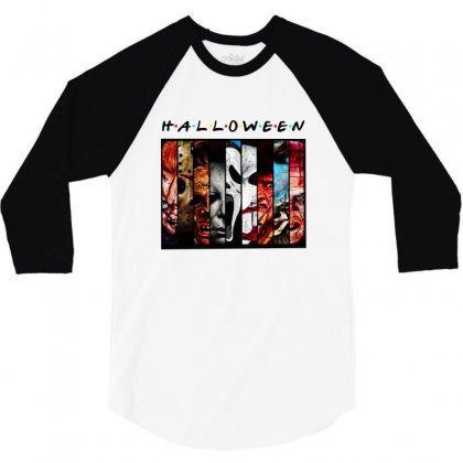 Halloween Horror Charaters Friends For Light 3/4 Sleeve Shirt Designed By Pinkanzee