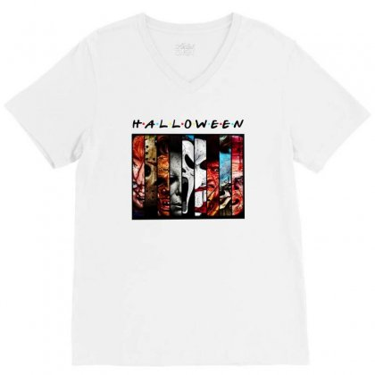 Halloween Horror Charaters Friends For Light V-neck Tee Designed By Pinkanzee