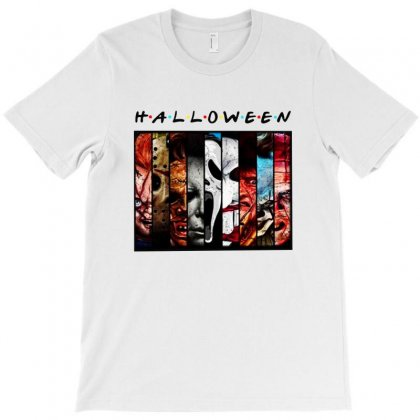 Halloween Horror Charaters Friends For Light T-shirt Designed By Pinkanzee