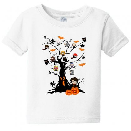 Halloween Harry Potter Tree Funny Baby Tee Designed By Pinkanzee