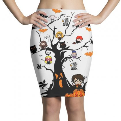 Halloween Harry Potter Tree Funny Pencil Skirts Designed By Pinkanzee